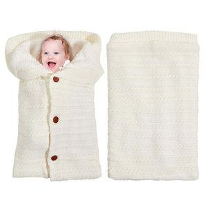 Newborn Baby Stroller Sleeping Bag Outdoor Button Knitted Sleeping Bag Thick Brushed Wool Blanket For Baby Autumn Winter
