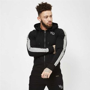 Atacado - Gymohyeah New Men Fitness Hoodies Pulôver Zipper Jaqueta Moletom