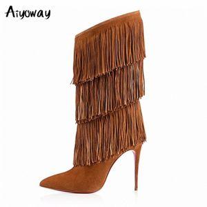 Grande tamanho mulheres borla mid bezerro botas marrom preto sexy pointed toe alto salto franja inverno sapatos grande tamanho rua estilo aiyoway l8tc #