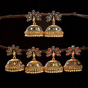 Vintage antiguo indio pavo real tallado jhumka jhumki pendientes mujeres boho étnico oro campanas pendiente joyería 2021 regalo
