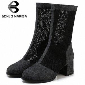 Bonjomarisa New 33 43 Ladies Fashion Street Denim Stivali Estate Elegante Mid Calf Mesh Boots Donna 2020 Tacchi alti Scarpe donna S52b #