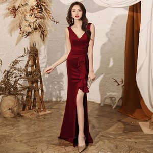 Evening Dr's 2021 Summer Banquet Temperament Elegant Annual Meeting Red Sexy Fishtail Slim Fitting Toast