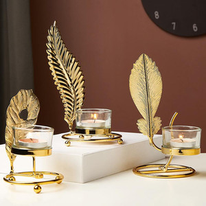 Candle Candle Ferro de Ferro Candlestick Ouro Metal Planta Folhas de Candelabra Tabela Centerpiece Party Wedding Home Decor