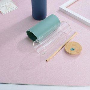Taza de paja de vidrio con cubierta de bambú Vidrio de paja de bambú con cubierta de botella de silicona 480ml Logo personalizable GWF5651