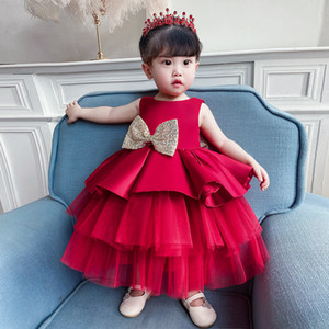 Popodion Baby Girl Dress Flower Girl Dresses Princess Dress One-year-old Baby Bow Puffy Cake Dress Children Gown FGD10129