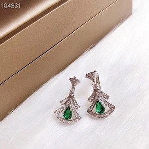Luxury Divas' Dream S925 Sterling Silver Green Trangle Hollow Charm Drop Earrings For Women Jewelry