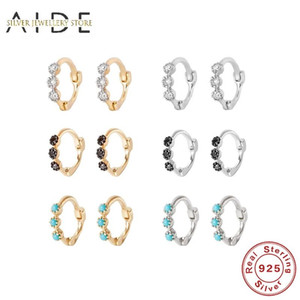 AIDE 925 Sterling Silver Hoop Earrings for Women Luxurious 3 Round Zircon Turquoise Row Pierced Earings Fine Jewelry kolczyki