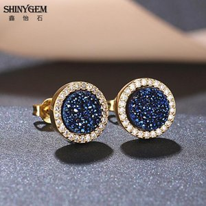Shinygem 패션 8 * 8mm 라운드 천연 크리스탈 Druzy 스터드 귀걸이 인레이 지르콘 골드 도금 Geode Gem Stone Earrings 여성을위한