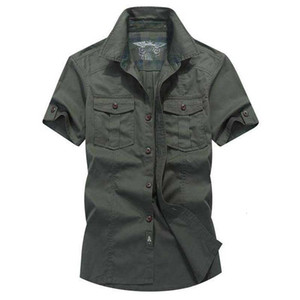 2021 New Fashion for the Summer of Cotton Short Military Cargo Shirts Single Army Size Big Men's Clothes Tdy4