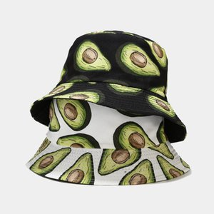 Cartoon Avocado Fisherman Hat Reversible Bucket Hat For Women Men Street Hip Hop Foldable Bucket Cap Vintage Printed Fishing Hat