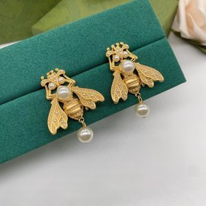 designer earrings little bee Luxury brand birthday present stud brass gilded 925 silver needle anti allergy party Jewelry customization exquisite gift studs
