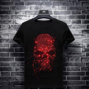2020 Bright Rhinestones Red Skulls T Shirts Men Short Sleeve Fashion Clothing Streetwear O Neck Modal Cotton Calaveras Camiseta Y0119