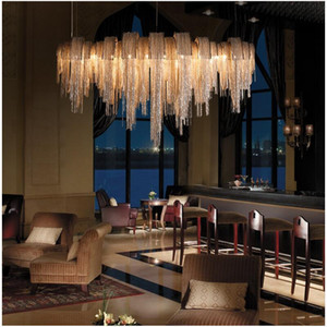New design chandeliers LED aluminum fixtures  light gold silver living room decorative light for commercial