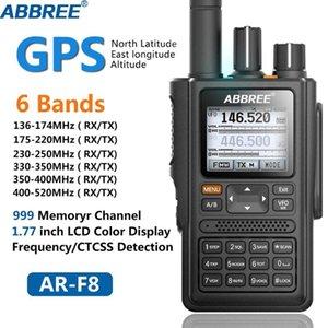 ABBREE AR-F8 GPS 6 Bands (136-520mHz) 8W 999CH Multi-funzionale VOX DTMF SOS LCD Colore Amatoriale Prosciutto a due vie Radio Walkie Talkie