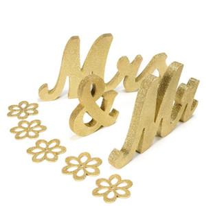 Lettere in legno Asypets MRS Sign Segno Tavolo da sposa Decorazioni Gold Glitter Silver Glitter Sweetheart Tools-30