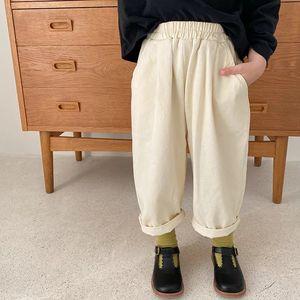 AMBB Japan Newest Spring Summer Kids Girls Cotton Trousers Quality Stylish Designs Pockets Elastic Waist Autumn Children Unisex Pants