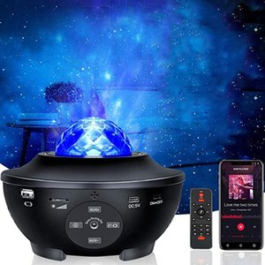 LED Laser Lighting Projector with Sound Sensor,Remote Control,360°Rotating Sleep Soothing Color Changing Lamp for Kids Stage Bedroom Wedding Room Party