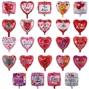 Wholesale 18 inch Balloons 50pcs lot Aluminium Foil Balloons Spanish I Love You Valentine's Day Supplies Party Decorations