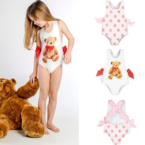 2021 New Toddler Sweet Swimming Suits Baby Hawaii Clothes Kids Girls Bow Tie Children Brand Swimsuits Cute Girl Swimwear 5zzu