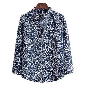 Autunno manica lunga camicie floreali per uomini slim fit flower print shirts moda più nuovo abbigliamento da uomo