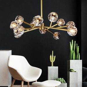 American RH Soggiorno K9 Crystal G9 LED Lampadario Lustro Lustro Gold Metal Branch Pendente Chandelier Lighting Living Room Fixtures
