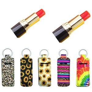 2021 New Floral Kiss Print Marble Color Neoprene Chapstick Holder Handy Lip Balm Keychains Neoprene Lipstick Holder Keychain Pouch bag