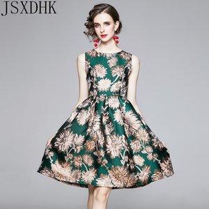 Casual Dresses JSXDHK 2021 Autumn Runway Designer Sleeveless Jacquard Dress Womens O-Neck Knee-Length Work A-Line Vestidos