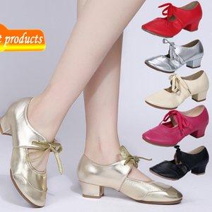 NOUVEAU Square Latin Top Soft Soft Sole Sole Femme Bouche Sondrée Chaussures de danse modernes 2021 WZK6