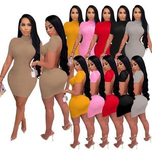 Women Dress Designer Sexy Open Back Dress Short Sleeve Casual Sexy Slim Tight Ladies Half High Collar Skirt