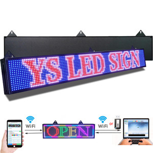 P10 mm Led Sign 52 x 8 inch Led Scrolling Message Board RGB Full Color Display for Advertising Business Programmable by WiFI USB