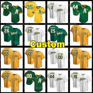 26 Matt Chapman Jerseys Khris Davis 24 Rickey Henderson 33 Jose Canseco 25 Costy 44 Reggie Jackson Baseball Jerseys Custom Stitche