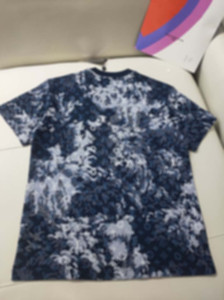21ss mens Tee t shirts Jacquard knitting camouflage paris men clothes short sleeve mens shirts tag letters polo New blue