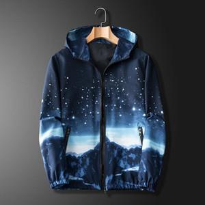 Men Jacket Coats Male Causal Starry sky Hooded Jacket Thin Windbreaker Zipper Outwear Spring Autumn Bomber Jackets