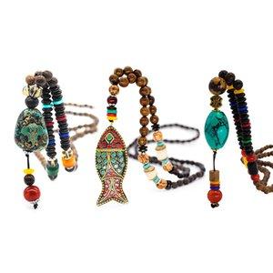 Main Vintage Talisman Népal Collier Népal Collier Bouddhist Mala Perlé Poisson Pendentif Pendentif Collier Long Déclaration Collier Pull