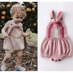 CATHYERY NOUVEAU NEUN NOUVEAU Bébé Baby-Gousses Tricolore Body Body Rainbow Lodi Coeur Sangle sans manches Jumpsuits Combinaisons Outfits1