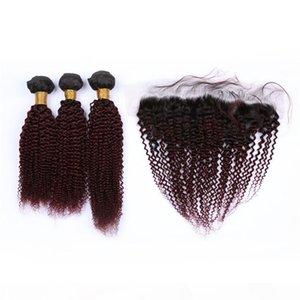 Kinky 곱슬 인도인 버진 인간의 머리카락 와인 레드 옴 브레 번들 거래 및 13x4 정면 클로저 # 1B 99J 부르고뉴 Ombre 레이스 정면 Weaves