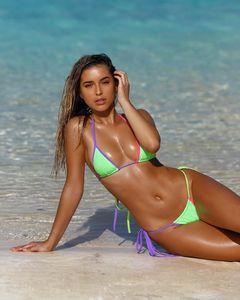 Şeker Halter 2 Adet Renk Bikini Bikinis Kadınlar Kıyafetleri Yaz Sütyen Külot Setleri