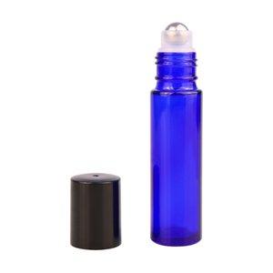 블루 아로마 테라피 에센셜 오일 롤러 병 휴대용 10ml 유리 롤 금속 공 DH203 재충전 병에