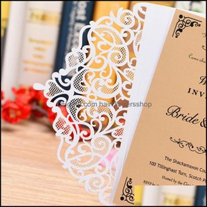 Greeting Event Festive Home & Gardengreeting Cards 10Pcs Invitation Wedding Blank Inner Sheet Pearl Paper Floral For Birthday Party Supplies
