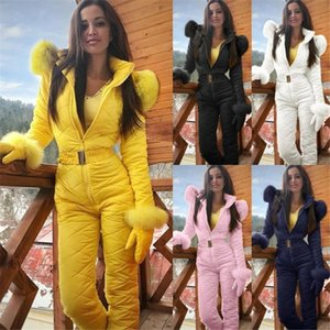 Women's Jumpsuits & Rompers Winter Skiing Womens Solid Color Hooded Slim Long Sleeve Plus Size Casual Female Clothing