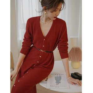 Casual Dresses Autumn French Style Base Knitted Sweater Dress V Neck Slim Long Sleeves Buttons Clothes Red Apricot Black