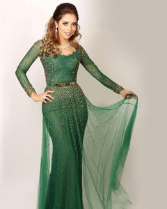 Saudi Arabic Green Evening Dresses Bateau Lace Crystal Beaded Sheer Long Sleeves Prom Gowns Mermaid Evening Gowns vestidos de novia