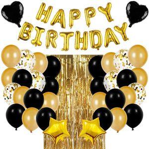 "Gold 16"" Happy Birthday Letter Balloon Set, Black Balloon Sequins Party Prom Supplies Set, Birthday Party Decoration Balloon Set L0220"