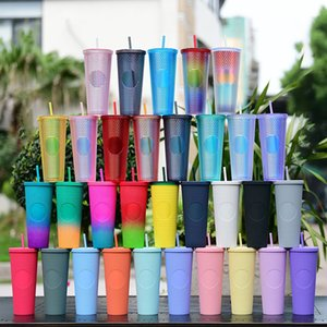 Studded Cold Cup 24oz 710ml Double Wall Matte Glow In Dark Coffee Mug Plastic Tumbler With Straw Custom LOGO YFAX3111
