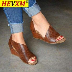Women's Summer Sandals Wedges Platform Ladies Clog Sandalias Mujer Shoes Female Zipper PU Peep Toe 2021 Fashion Woman