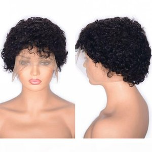 Curly Lace Front Wig Glueless Peruvian Virgin Human Hair Natural Color Short Wig with Baby Hair Swiss Lace Cap