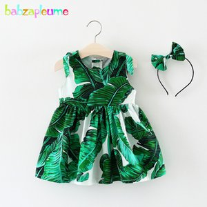 babzapleume New Born Baby Girls Clothes 3 Years Summer Dresses Fashion Green Leaves Cotton Sleeveless Dress+Headwear BC1701 210312