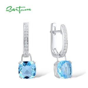 Santuzza Pendientes de plata para mujeres 925 Pendientes de plata esterlina Pendientes Sky Blue Cubic Zirconia Brincos Fashion Jewelry 210311