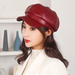 Sombreros octagonales mujer mujer boina de cuero de cuero de color sólido sombreros de pintor versátil sombrero de primavera octagonal sombrero unisex diario # 4