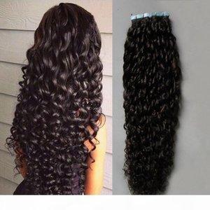 Fita curly curly marrom escuro em extensões de cabelo humano 100g 40 pcs lote non remy cabelo humano brasileiro cabelo de pele de trama de pele de pele